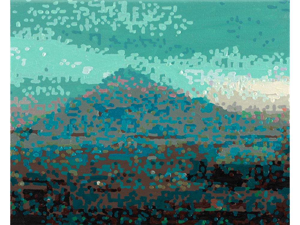 Römer + Römer, 50 ANSICHTEN DES BERGES FUJI_VOM ZUG AUS BETRACHTET NR.17, 2010, Oel auf Leinwand, 24 x 30 cm