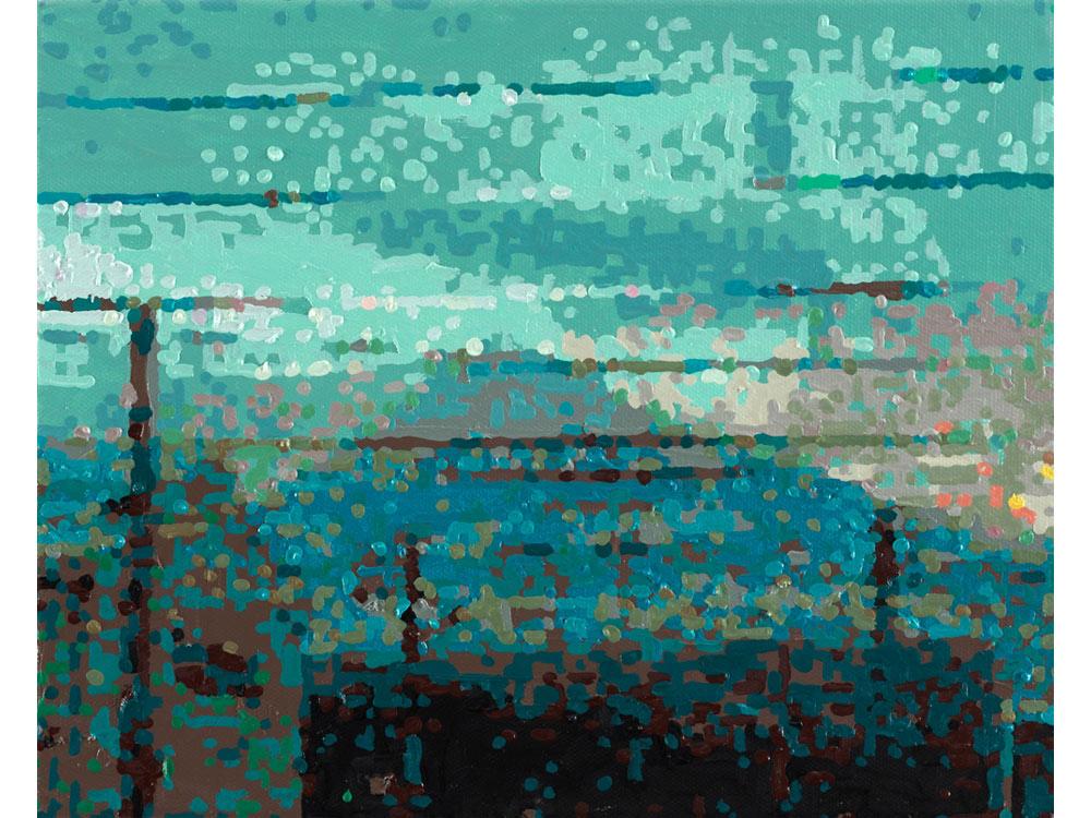 Römer + Römer, 50 ANSICHTEN DES BERGES FUJI_VOM ZUG AUS BETRACHTET NR.29, 2010, Oel auf Leinwand, 24 x 30 cm