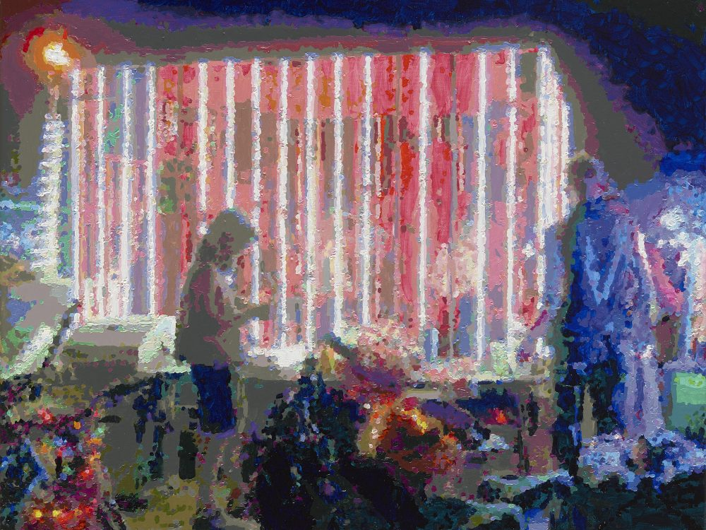 Römer + Römer, Neon Light Cage, 2018, Öl auf Leinwand, 55 x 70 cm